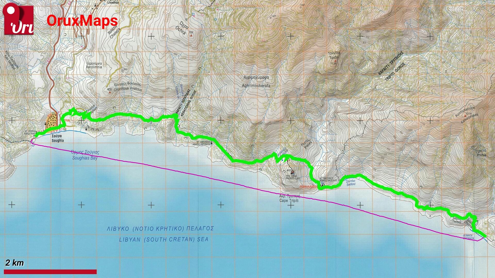 Carte E4 Crete.10 05 2018 E4 Domata Sougia Lefka Ori Crete Alta Via